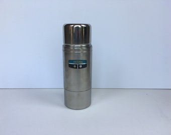 Vintage Stainless Steel Pint Sized Thermos Vacuum Bottle Hot Cold Insulated