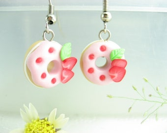 Strawberry Donut earrings, doughnut donut jewelry, pink earrings, food jewelry, food earrings, cute earrings pink, womens gift, polymer clay
