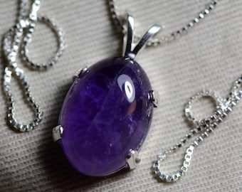 Amethyst Necklace, Certified 11.00 Carat Amethyst Pendant Appraised at 450.00 Oval Cabochon, Sterling Silver, Real Amethyst