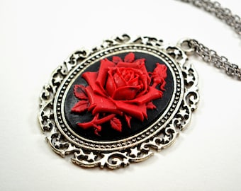 Large Red Rose Cameo Necklace Antiqued Silver Victorian Necklace