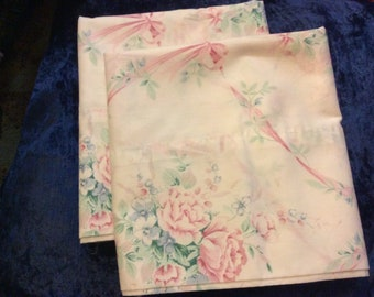 Vintage Ribbons & Roses Percale Cotton Standard Pillow Case Set Two