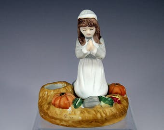 Thanksgiving, Pilgrim Girl, Candle Holder, Ceramic, Pumpkins, Squash, Rustic, Gift, Gift for Her, Girls Room, Birthday Gift, Home Décor
