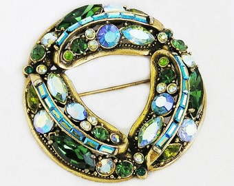 Hollycraft Green, Teal and Blue Brooch 1960's