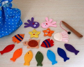 Magnetic Fishing Game, Felt Sea Animals with Fishing Pole, Educational Sensory Toy for Toddler and Baby, Gift for Kids