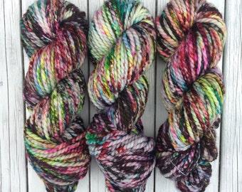 Zonko's, Zonko's more black, chunky yarn, bulky yarn, hand dyed yarn, indie dyed yarn, speckled yarn, wool