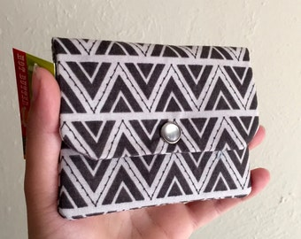 Grey Geometric Print - Triangles - Cash and Card Wallet with Zipper