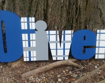 Custom Boys Name Sign - Plaid Boys Name Sign - Nursery Wall Letters Name Sign - Wood Wall Letters Boy Style Stripes