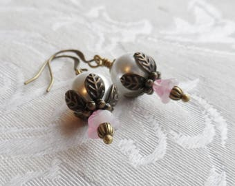 75% Off Clearance Sale, Czech Glass Earrings, Blossom, Pink, White Pearl