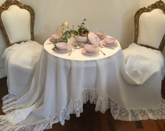 "Tablecloth ""Beatrice"" cotton and voila in lace total white jewel Italian"
