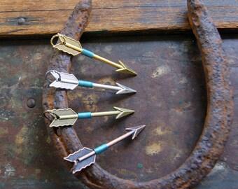 Aigue marine fil enroulé flèche Collier argent, or, pendentif flèche en cuivre ou bronze