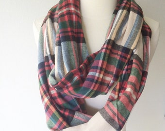 Mammoth Plaid Flannel Infinity Scarf - Handmade - Preppy, Classic, Edgy, Boho, Soft, Warm - Gift for Her, Birthday, Fall Fashion, Chic