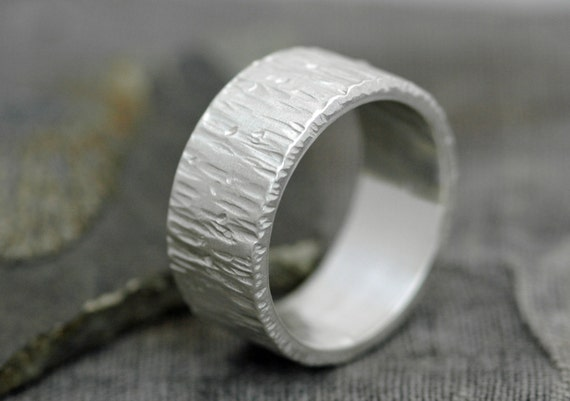Thick Birch Bark Textured Sterling Silver Band- 3/8 Inch Custom