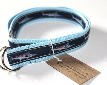 Blue Marlin Fish Adjustable Belt for Children/Toddler- Light Blue Webbing