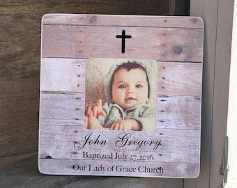 ON SALE Baptism Gift Godson Goddaughter Godchild Dedication Christening Gift Personalized Picture Frame