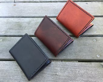 Leather Trifold Wallet - Handmade Leather Wallet - Mens Wallet - Gift for Husband - Gift for Dad - Mens Leather Wallet - READY TO SHIP