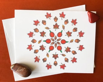 Pumpkins & Acorns mandala greeting card