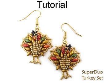 Beaded Necklace Beading Tutorial - Turkey Thanksgiving Pattern - SuperDuo Earrings - Simple Bead Patterns - SuperDuo Turkey Set #27399