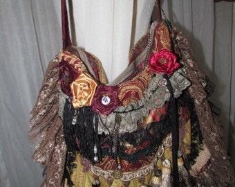 Bohemian Gypsy Bag, handmade edgy rocker, sturdy Thick hippie fabric bag, earth tones, beads buttons lace embellished, bohemian boho bag
