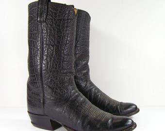 vintage tony lama cowboy boots mens 10.5 D black western leather biker farm black label