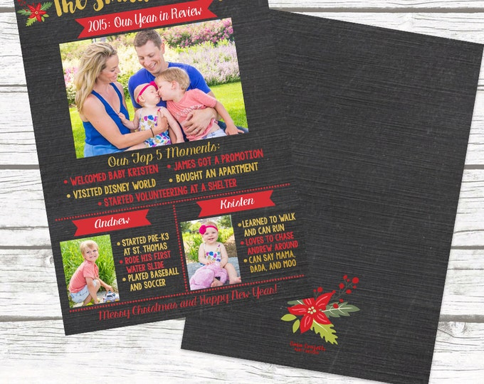 Chalkboard Gold Foil Year in Review Christmas Holiday Photo Card, Multi Photo Picture Card, Personalized Printed or Printable, Matching Back