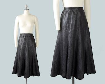 Vintage 1950s Style Skirt | 1970s Black Leather Full Buttery Soft Midi Swing Skirt (small)