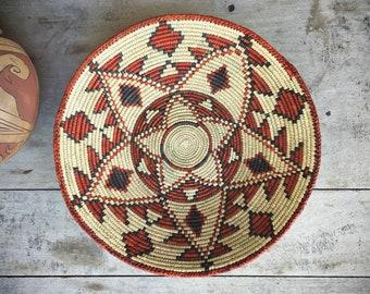 Shallow Woven Basket Earthtone Color, Bohemian Decor Southwestern Decor Coiled Basket