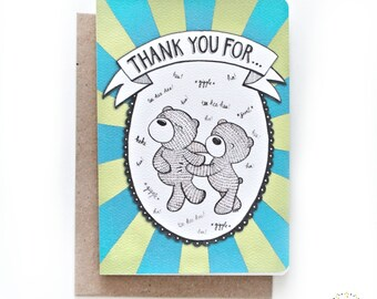 Whimsical A6 Thank You Card - Lots of Laughs & Tickles