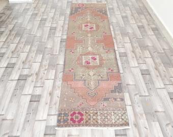 Grey RUNNER RUG Vintage Oushak Runner Rug kilim rug  8 x 2 feet