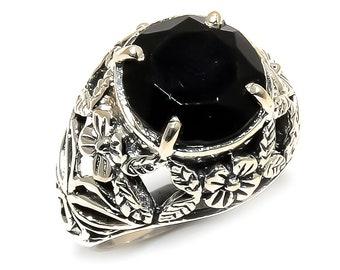 Natural Black Onyx Round Gemstone Ring 925 Sterling Silver R958