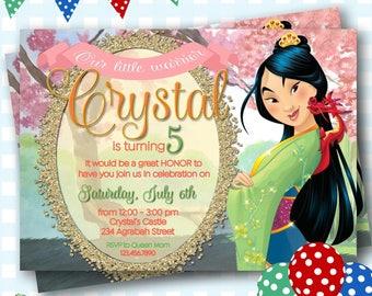 Mulan Birthday Invitations, Mulan Invites, Mulan Invitations, Warrior Princess Birthday Invitations, Digital Invitations, Mulan Party - P512