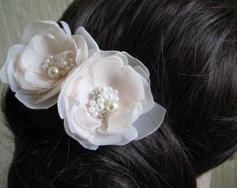 Set of 2 champagne hair flower 2 Cream hair flower Champagne hair piece Champagne wedding Champagne accessory Cream wedding Cream headpiece