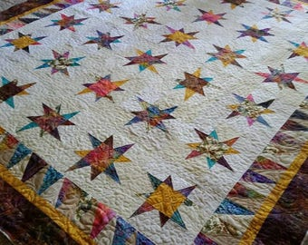 Quilt for Sale, King Size Quilts, Queen Size Quilt, Uneven Star Quilt, Made to Order, Homemade Quilts, Modern quilt, Quilts By Taylor