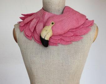 Pink Flamingo - felted wool animal scarf