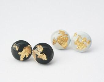 Gold Leaf Circle Stud, Dainty Stud Earrings, Custom Color Stud Earrings, Resin Jewelry, Hypoallergenic Studs