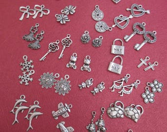 x 50 silver charms mixed 25 different patterns #1