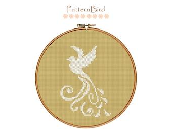 Bird Silhouette I.  Instant Download PDF Cross Stitch Pattern