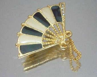 Gold Tone Enamel & Rhinestone Fan Pin Brooch Vintage