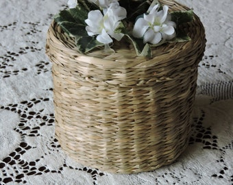 Round Vintage Sweetgrass or Straw Basket with White Flowers and Ivy Attached to Lid