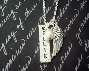 Hand Stamped Jewelry - Angel Wing - Gift for her - Personalized Jewelry - Personalized Necklace - Dainty Necklace - Say Anything Jewelry