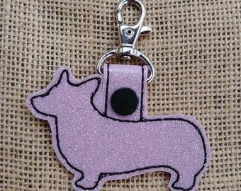 Corgi Glitter Keychain Fob