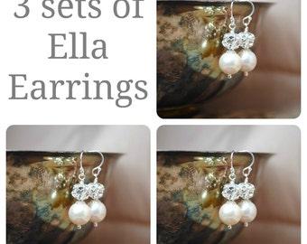 3 sets of Bridesmaids Earrings, Three Swarovski Pearl Rhinestone Ball Drop Earrings, Bridal Party Gifts, Wedding Earrings, Bridal Earrings