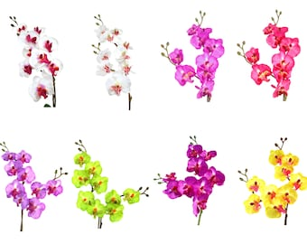 """17"""" Artificial Silk Butterfly Phalaenopsis Orchid Flower Spray - (White/Pink/Purple/Viotet/Green/Yellow)"""