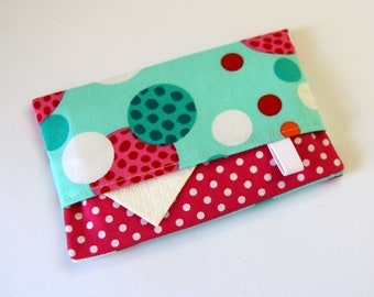 Pocket Tissue Case, Travel Tissue Holder, Fabric tissue cover, Tissue pouch, Kleenex case, Pink Blue & White Spots Dots
