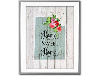 SALE-Home Sweet Home- Utah On Barn Wood With Roses- Art Print - Wall Art Designs- Gallery Wall- Quote Prints- State Art-Farmhouse Decor