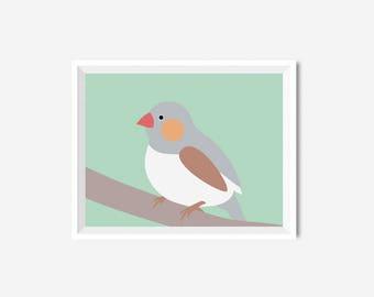 Printable Bird Nursery Poster Baby room Print Nursery Animal Girl Boy Wall art Mint