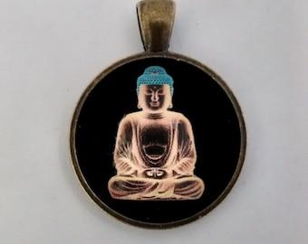 Buddha Pendant, Buddha Necklace, Buddha Jewelry, Antique Bronze.