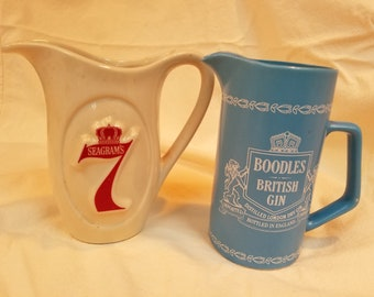 2 vintage bar pitchers Boodles and Seagrams