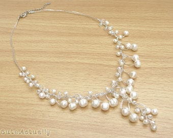 White freshwater pearl necklace with crystal on silk thread, Bridal necklace, Wedding jewelry, dangle, pendant, white pearl necklace