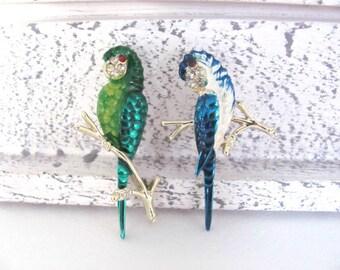 Vintage Bird Brooch, 1960's Gerry's Enamel Parrot Brooch, Pin, Blue, Green Parrot, Animal Brooch, Parrot Scatter Pins, 1960s Brooch, Jewelry