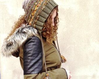 Women pixie hat, knit pixie hat, fairy pixie hat, wool knit hat, warm knit hat, rustic knit hat, OOAK